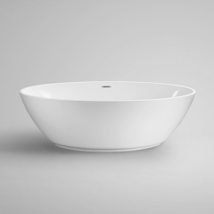 "Aifol 67"" Acrylic Oval Stand Alone Bathtub Soaking Tub with Contemporary Design, White"