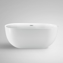 "Aifol 67"" Inches Round Freestanding Bathtub Acrylic Soaking Bathtub – Stand Alone Bathtub with Contemporary Design, White"