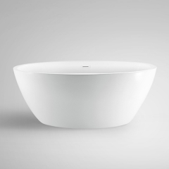 Aifol 67'' Inches Oval Freestanding Bathtub Acrylic Soaking SPA Tub for Small Bathroom, White