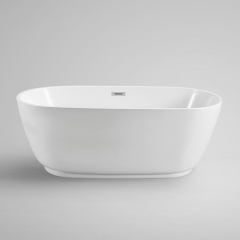 "Aifol 67"" Inches Modern Acrylic Stand Alone Bathtub Soaking SPA Tub with Contemporary Design, White"