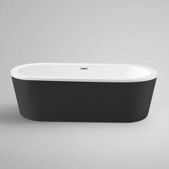 "Aifol 61"" Inches Luxury Stand Alone Bathtub Acrylic Soaking SPA Tub – Modern Bathtubs with Contemporary Design, Black"