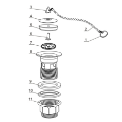 Aifol Rubber Plug Sink Drain with Chain of Crew Nut  Drain Vessel Basin Sink Strainers with Overflow, Polished Chrome Finish