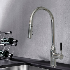 Modern Commercial Brass Single Handle Pull Out Kitchen Sink Faucet, Kitchen Faucets with Pull Down Sprayer