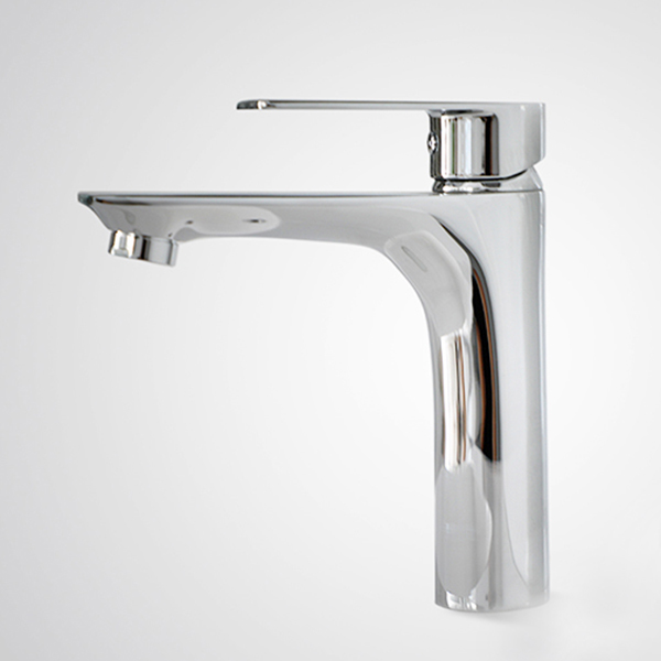 Aifol Chrome Bathroom Sink Faucet Single Handle Bar Sink Mixer Tap Lavatory Faucet Silver Deck Mount Hot and Cold Water