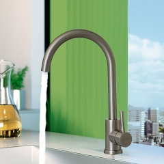 Aifol 360 Degree Swivel Good Valued Modern Single Handle Brushed Steel Kitchen Sink Faucet, Easy Installation Brushed Nickel Kitchen Faucets