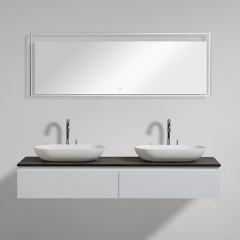 "Aifol Matte White Wall Hung Deep 60"" Bathroom Vanity Cabinet"