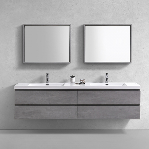 Aifol New Design 60 inches Wall Hung Double Sink Basin Bath Vanity