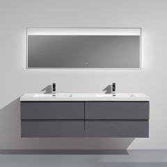 Aifol 72-inch Contemporary Wall Mounted Moistureproof Double Sink Bath Vanity