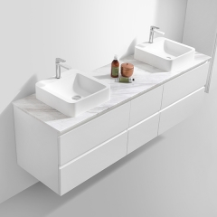 Aifol European Modern Design Marble Stone High Gloss White Double Sinks 60