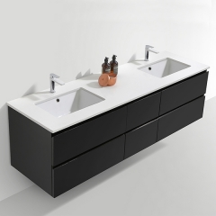 Aifol Black Modern European Style Double Wash Basin Cabinet Wooden 72