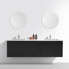 "Aifol Black Modern European Style Double Wash Basin Cabinet Wooden 72"" Bathroom Vanity Cabinet with Drawers"