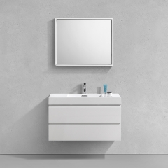 Aifol 40 Inch Luxury Wall Hung White Hotel Bathroom Furniture Set
