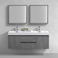 "Aifol  Classic Wall Hung Bathroom Double Sink Living Room 60"" Cabinet with Wash Hand Basin Vanity Set"