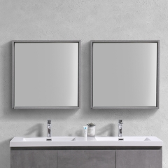 Aifol 28 Inch Square Bathrooms Wall Makeup Framed Mirror