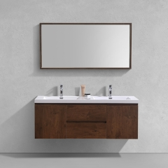 "Aifol  Classic Rosewood Wall Mount Bathroom Single Sink Hotel 60"" Vanity Cabinet"