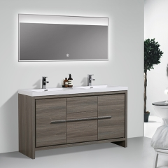 Aifol 60 inch Luxury Double Sink Basin Melamine Bathroom Vanity Cabinet Home Center