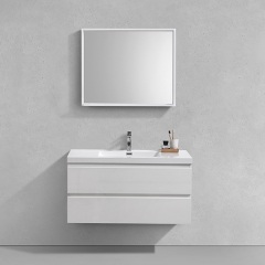 Aifol 36 Inch Contemporary Wall Mount White Hotel Bathroom Furniture Set