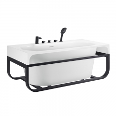 Aifol 67 Inch Top Grade Acrylic Freestanding Tub with Wooden Support